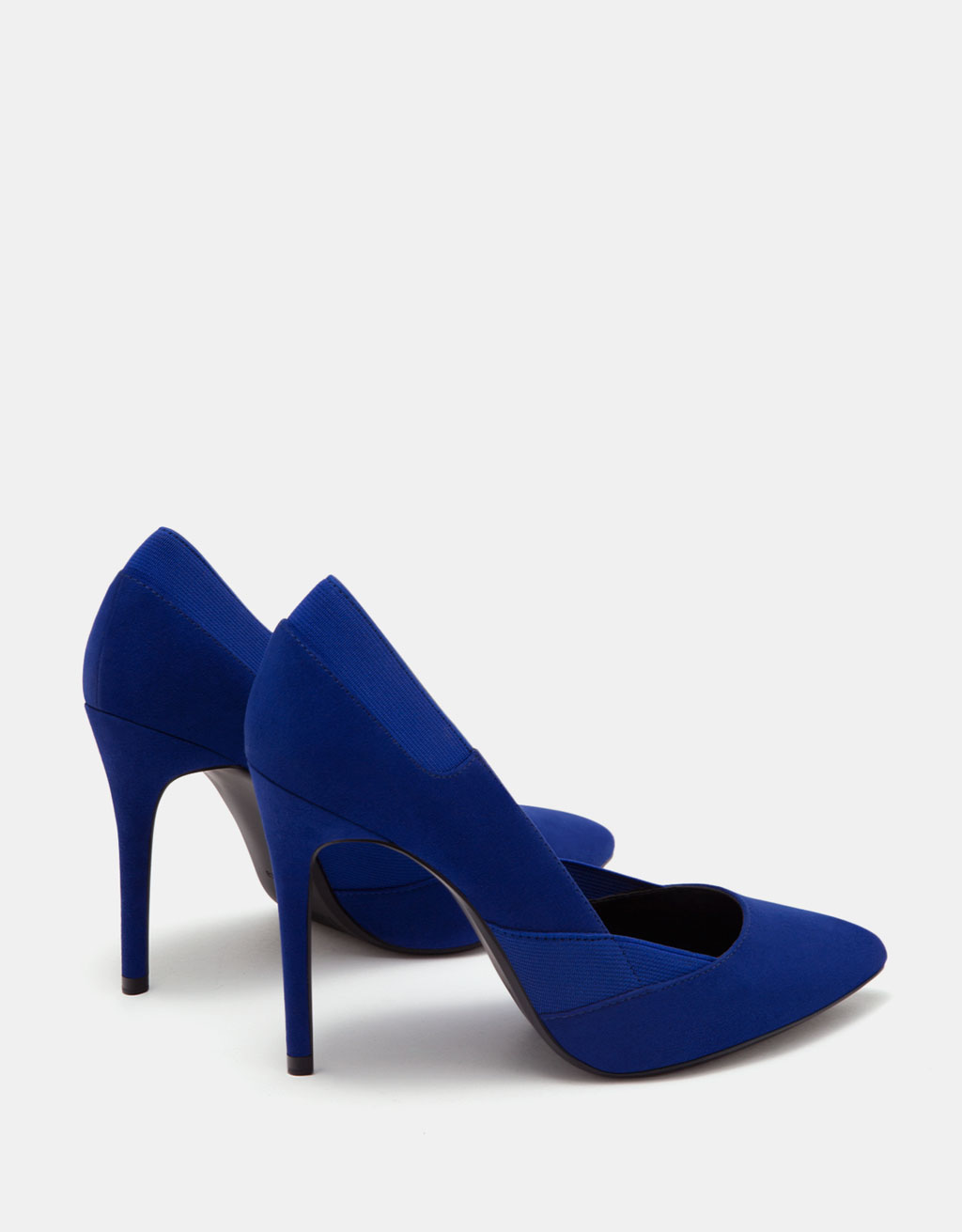 Stiletto-heel shoes with elastic side details