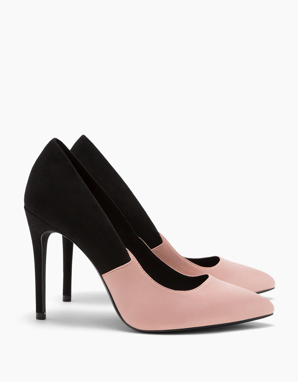 Combined satin stiletto heel shoes