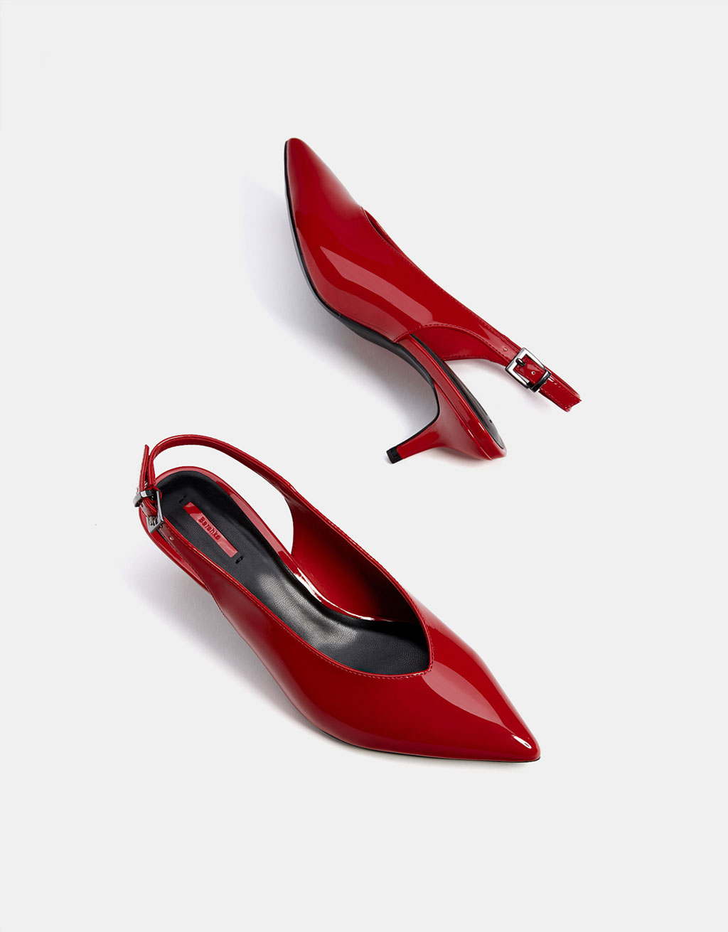 Mid heel faux patent slingback shoes