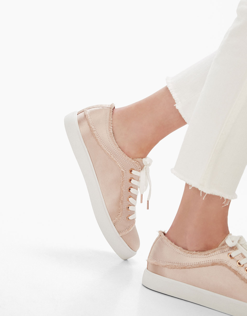 Frayed satin sneakers