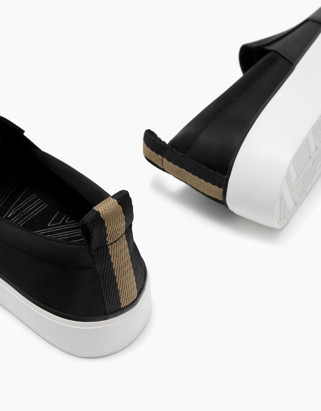 Satin sneakers with elastic side panels