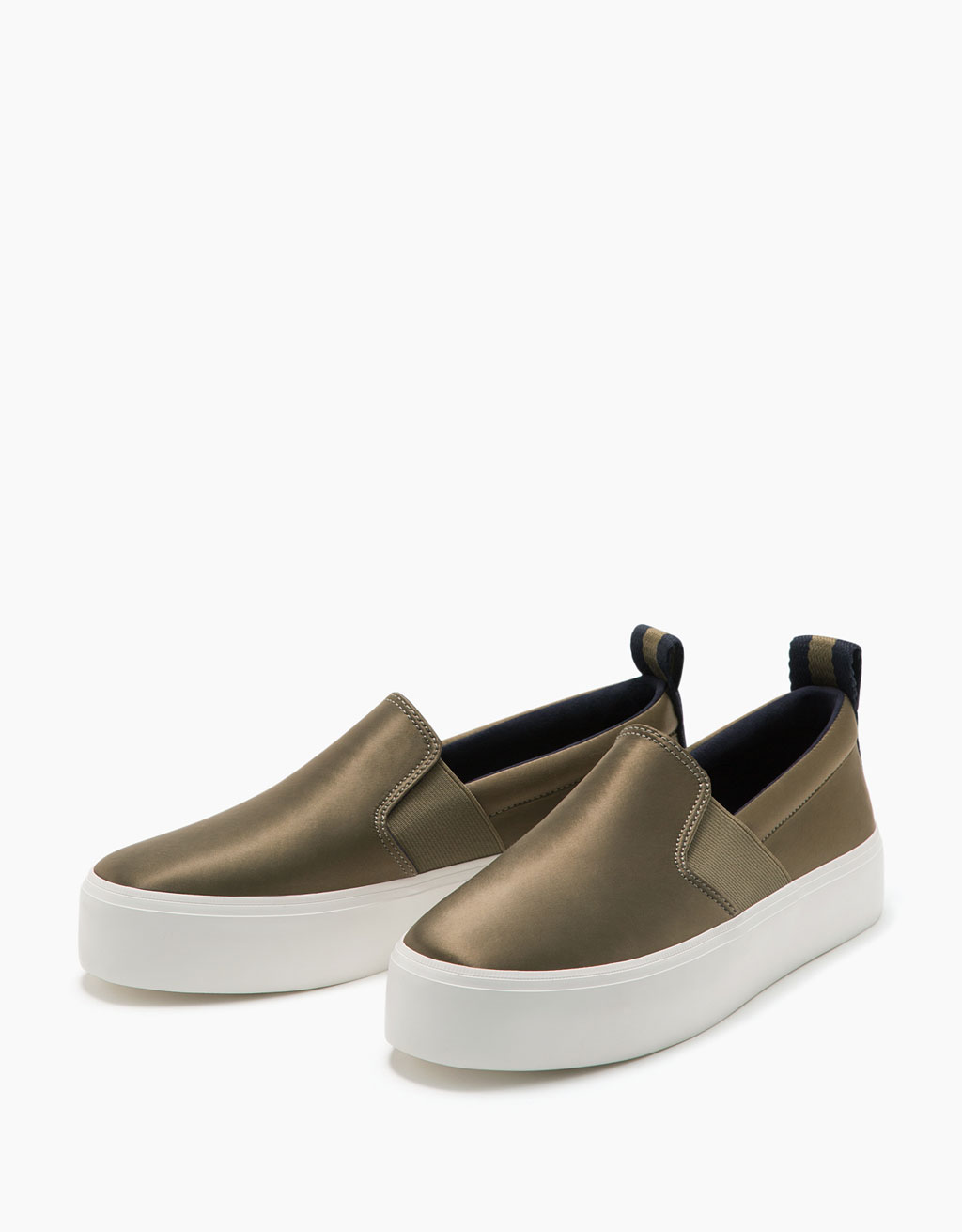 Satin sneakers with elastic tabs