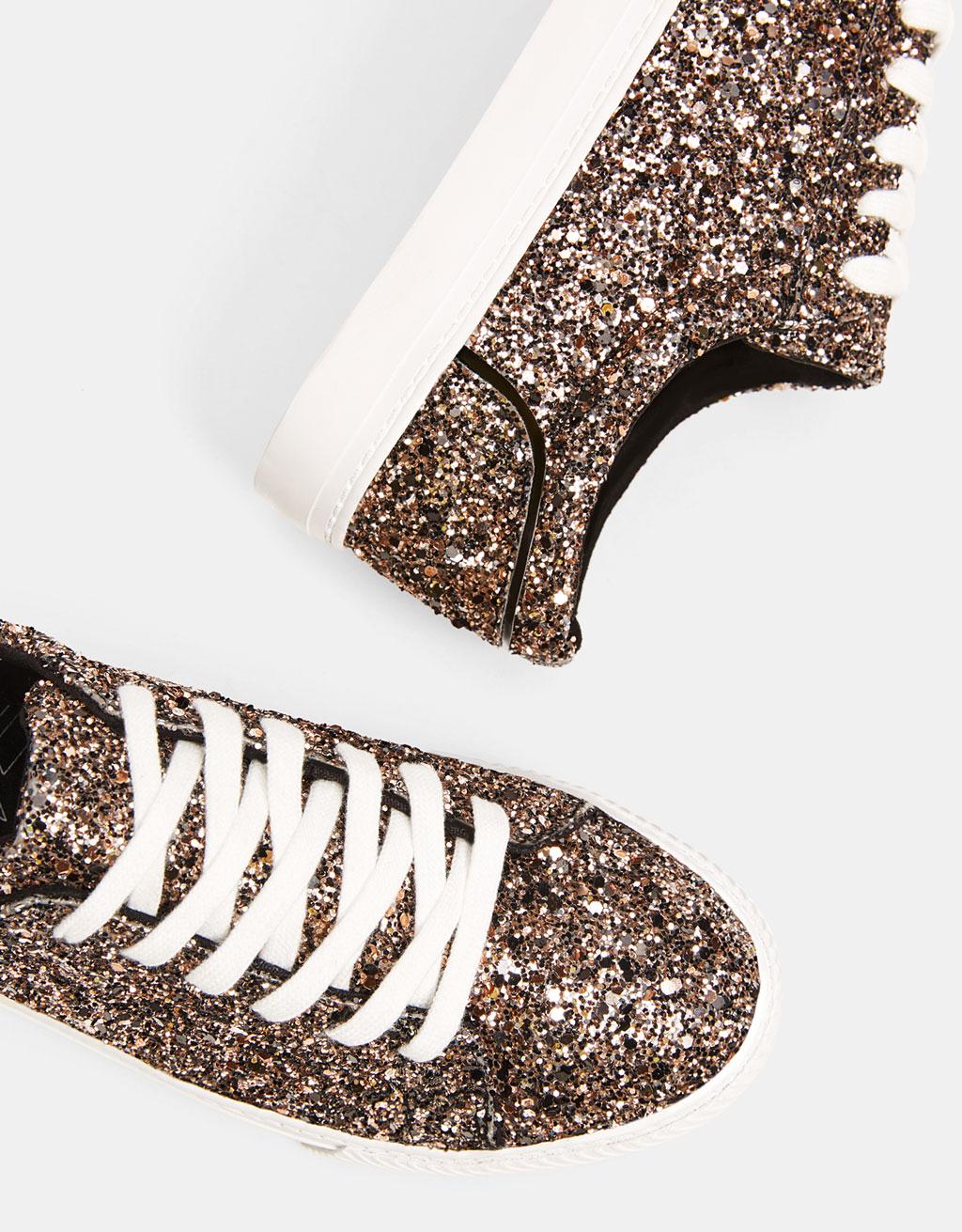 Bağcıklı simli ayakkabı