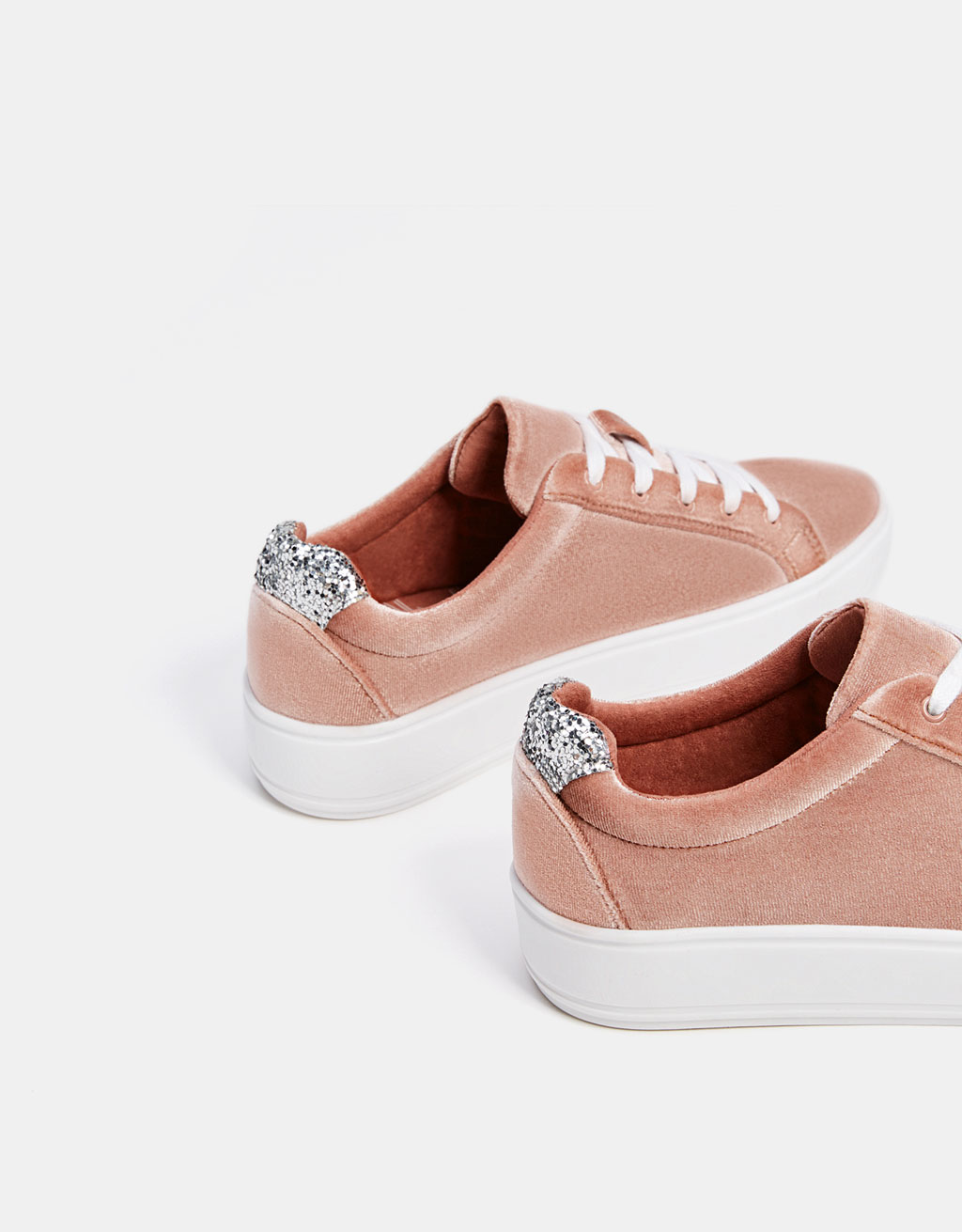 Velvet sneakers with glittery heels