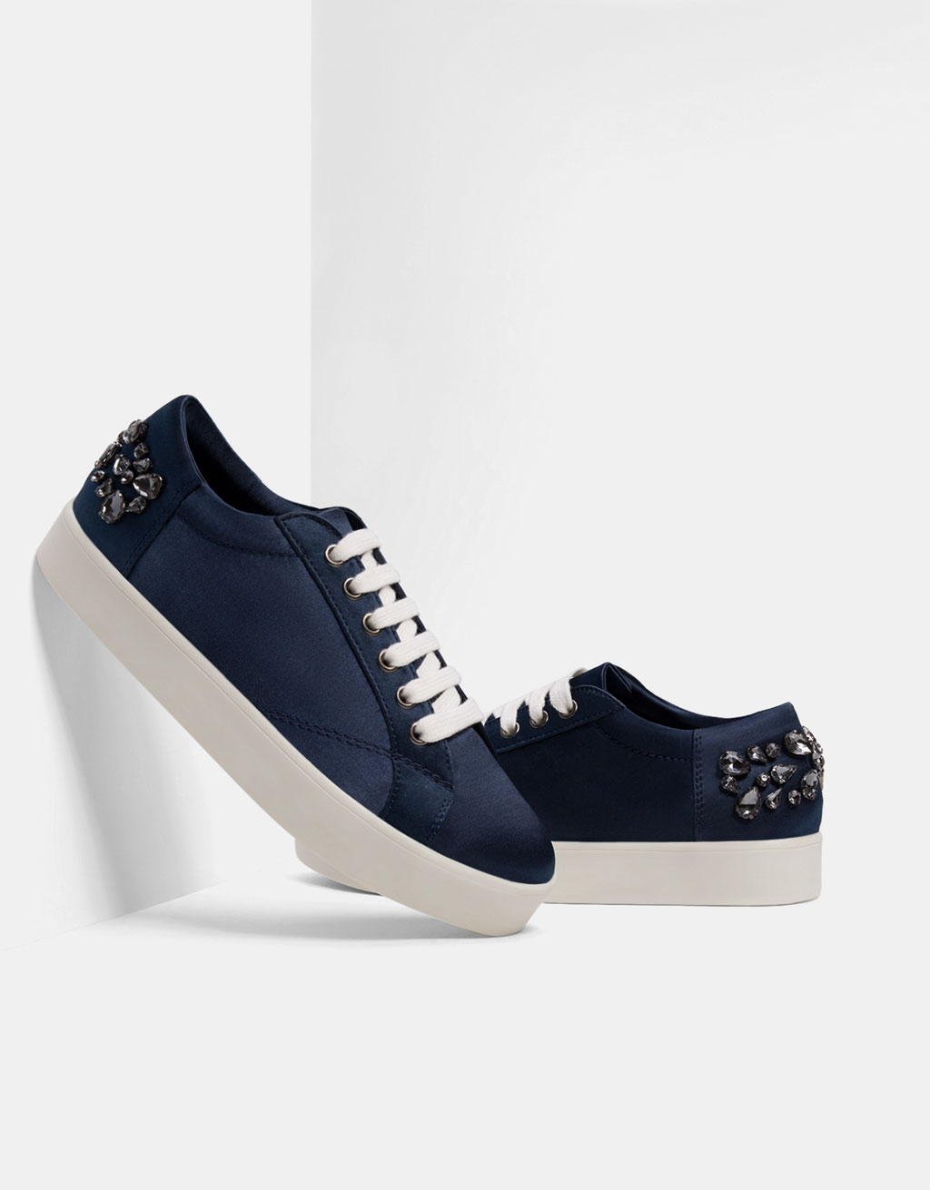 Bejewelled satin sneakers