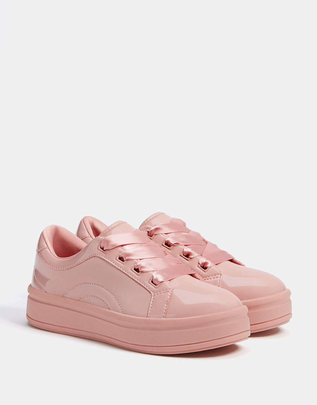 Monochrome faux patent sneakers with satin laces