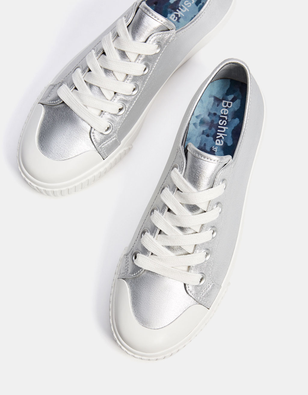 Metallic sneakers with rubber toe cap
