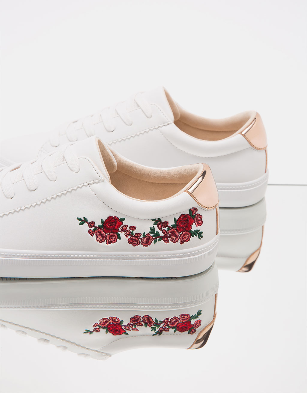Sneakers with floral embroidery and metallic trim