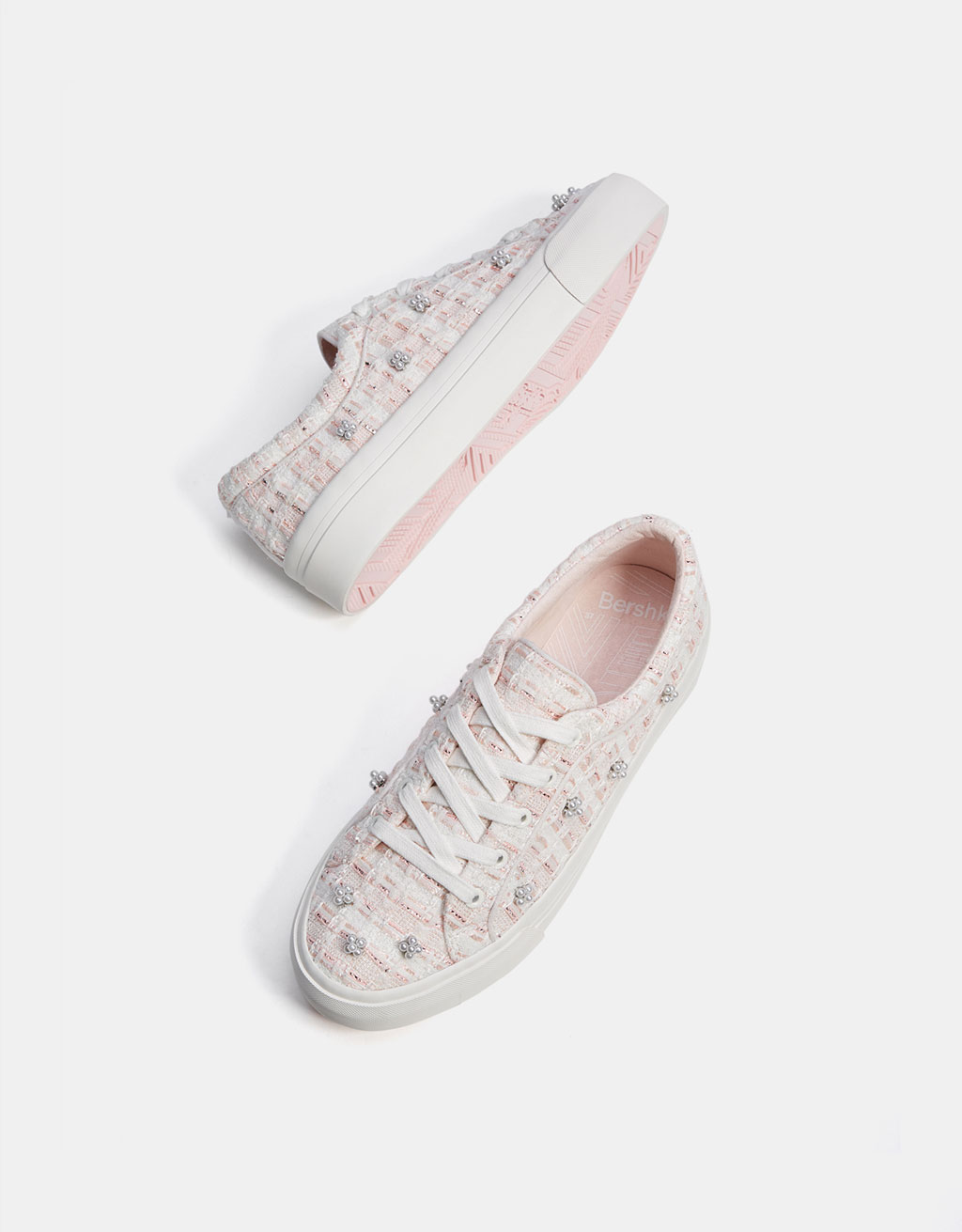 Fabric sneakers with faux pearls