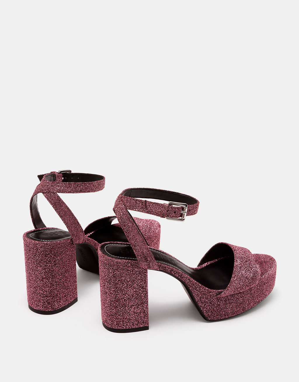 Vamp sandals with ankle strap and glitter mid heels
