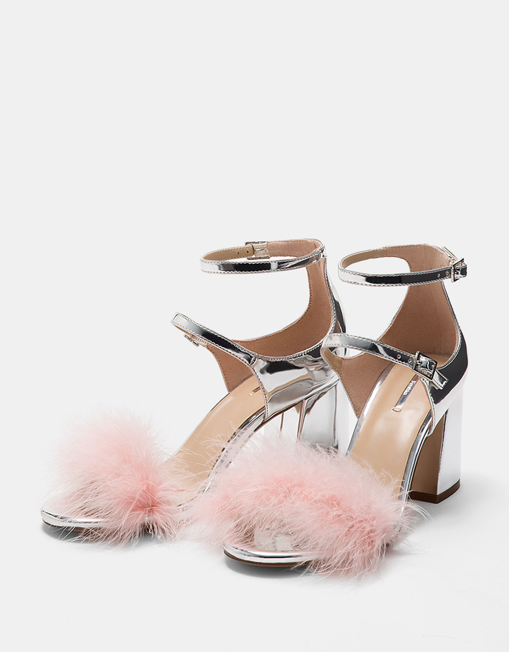 Metallic mid-heel sandals with feathers