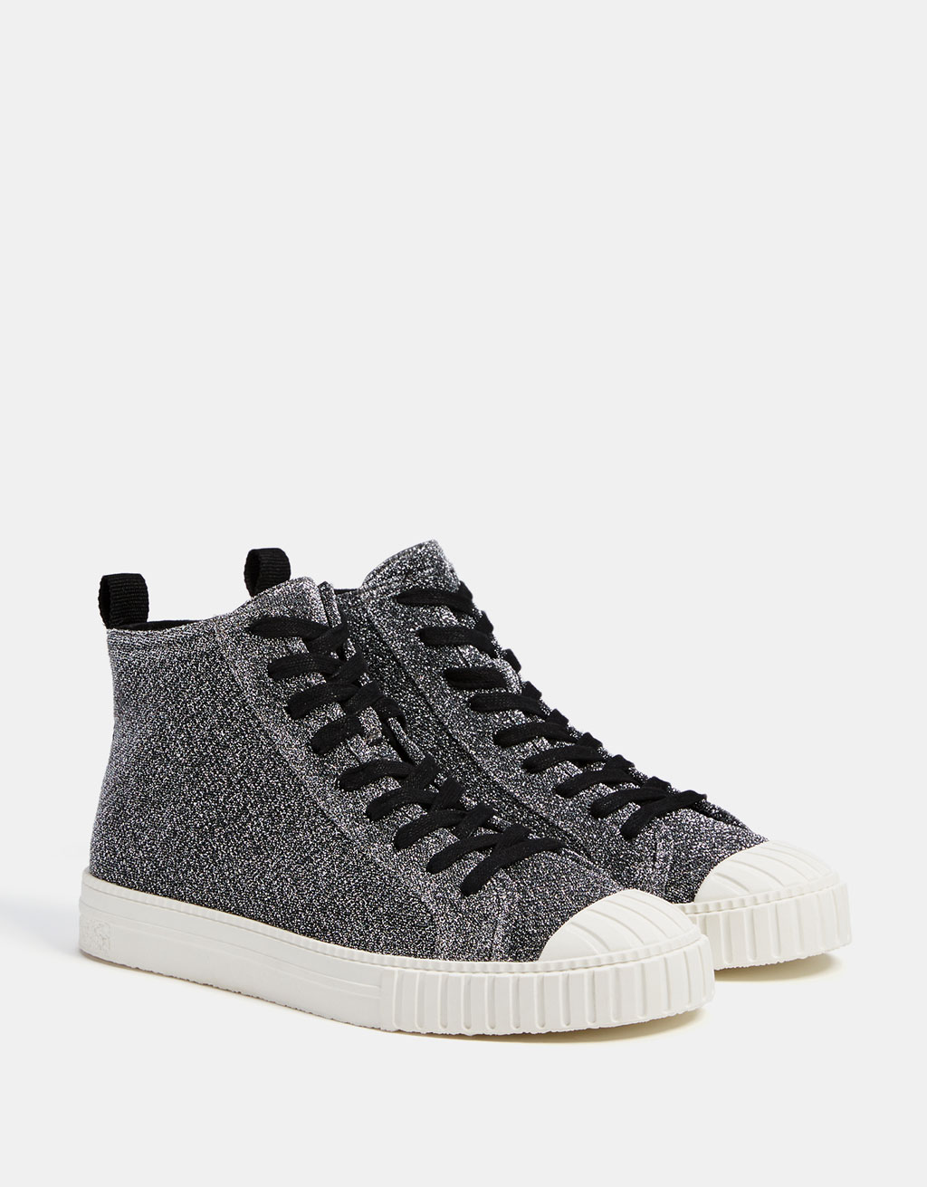 Glittery high top sneakers with rubber toe cap
