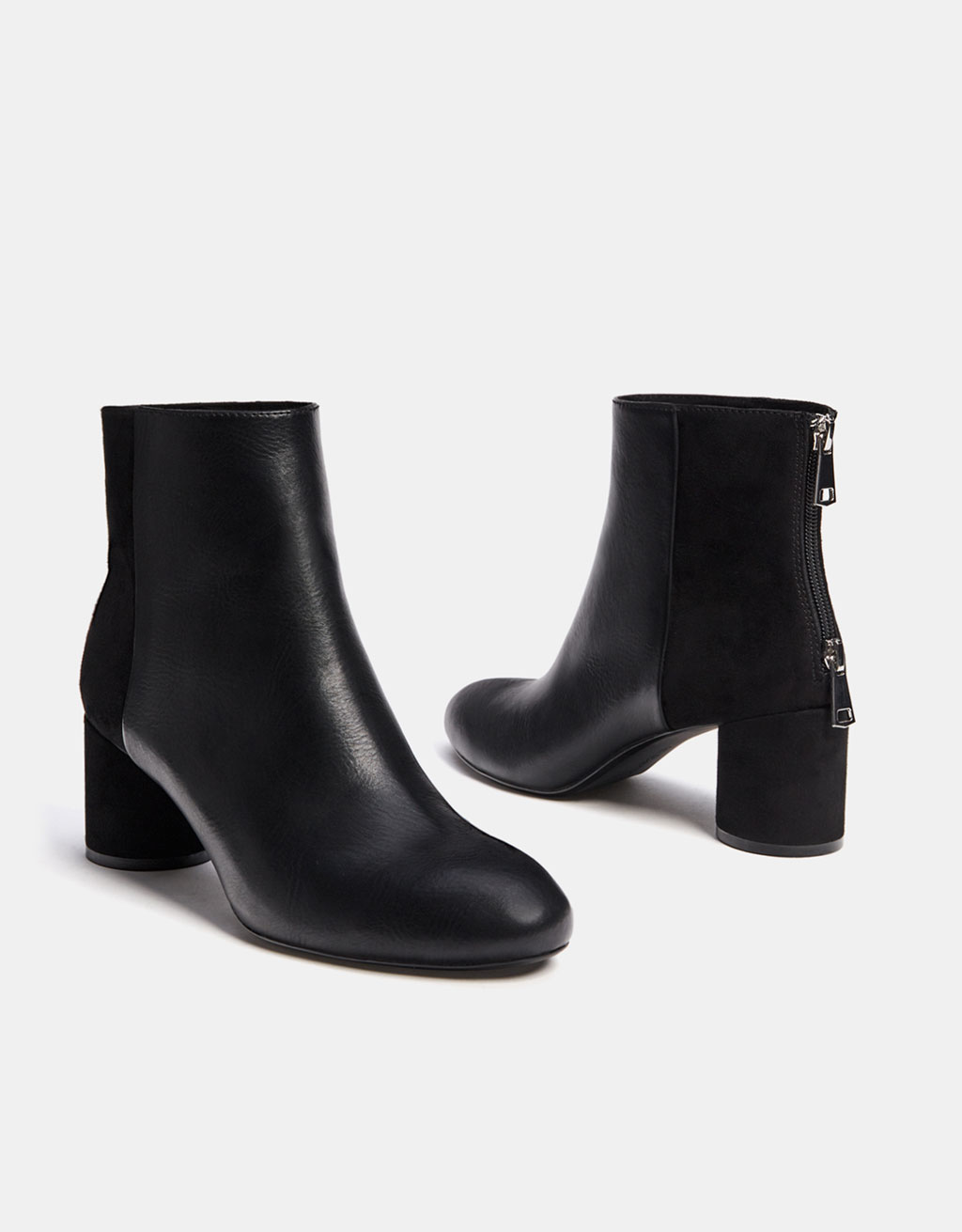 Mid-heel combined ankle boots
