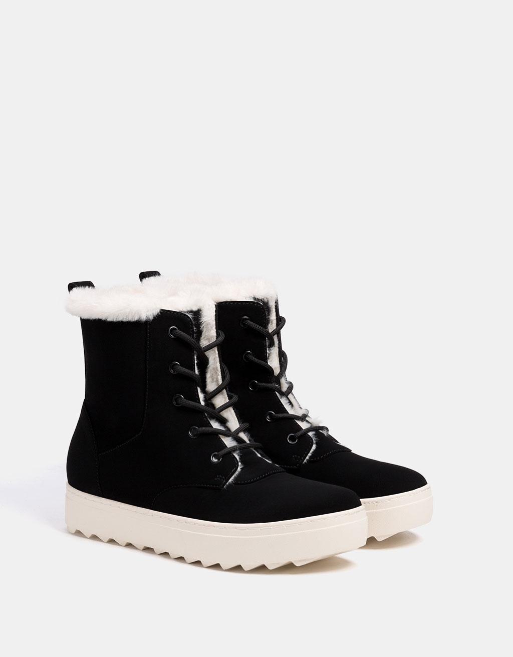 Faux fur high top sneakers