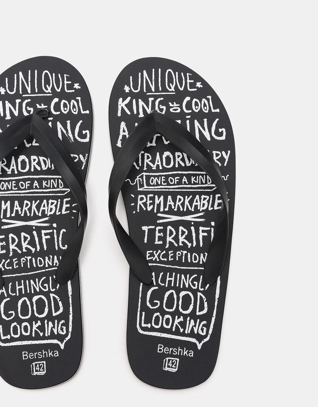 Pánské sandály na koupání s nápisem
