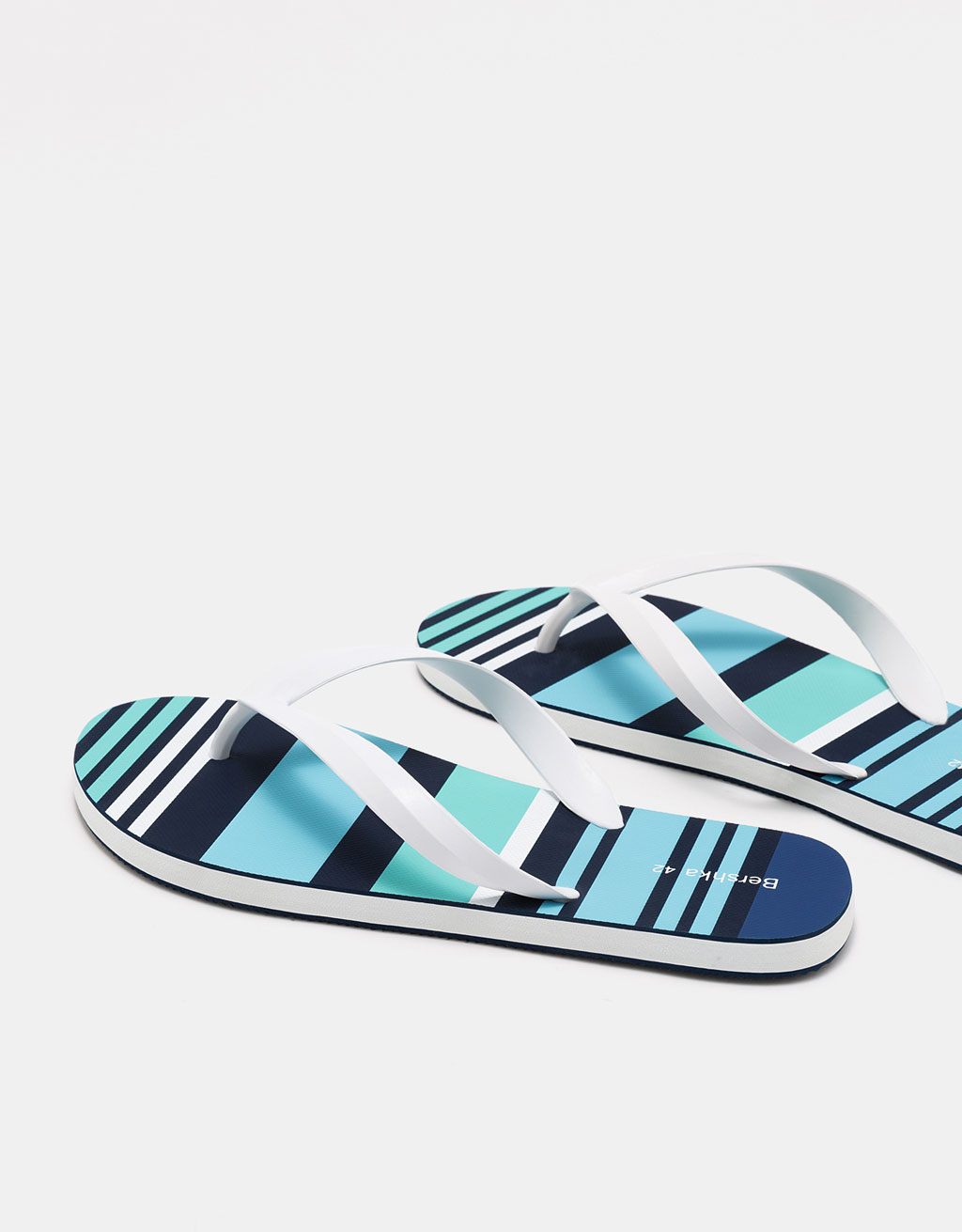 Men's striped thong sandals