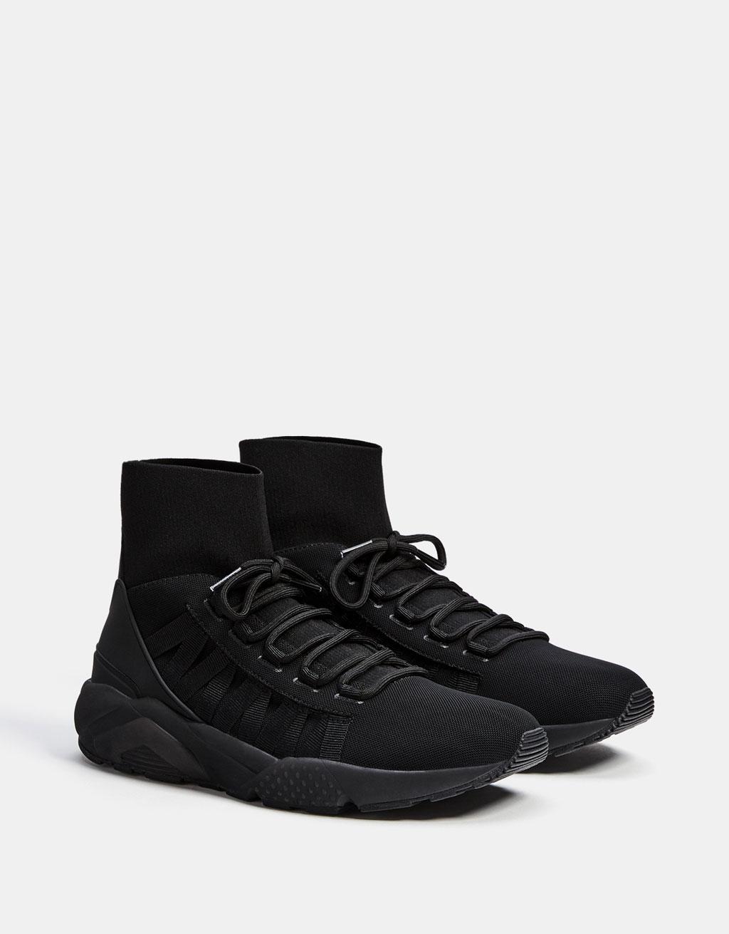 Sneakers stivaletto calzino suola tecnica uomo
