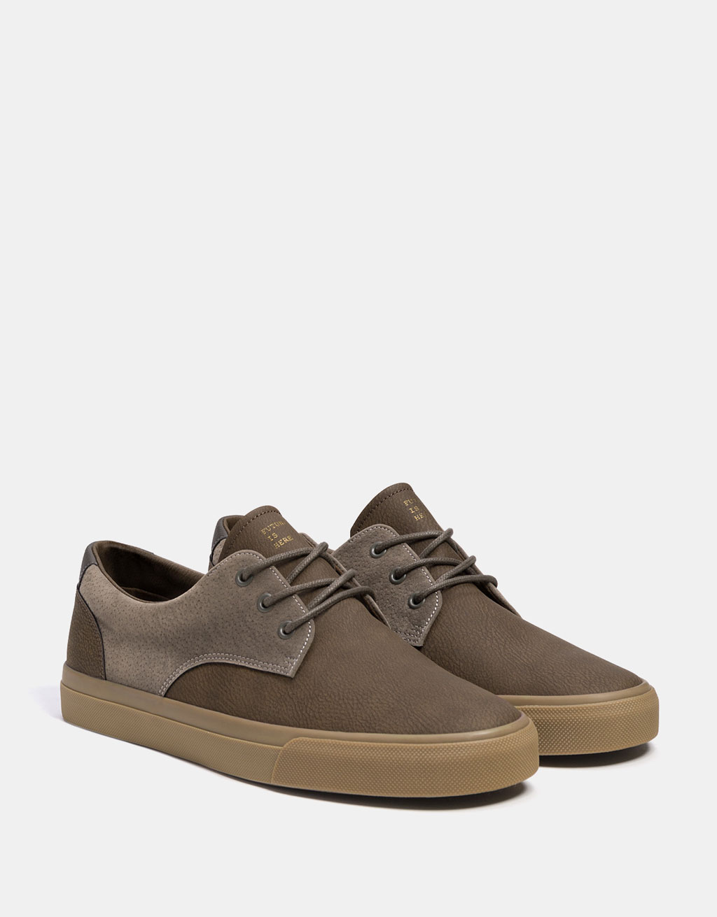 Men's combined sneakers with caramel-coloured soles