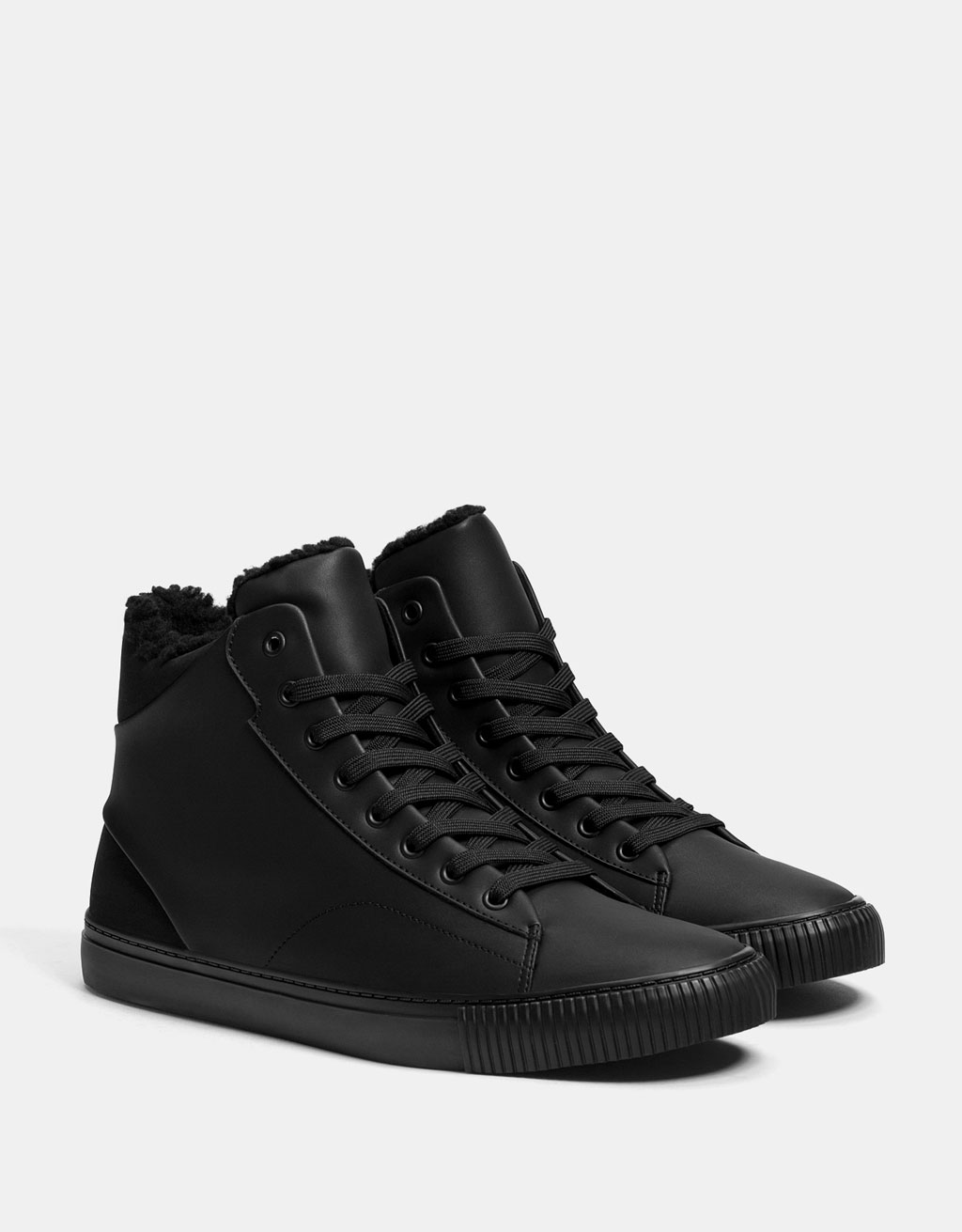 Men's lined lace-up high top sneakers