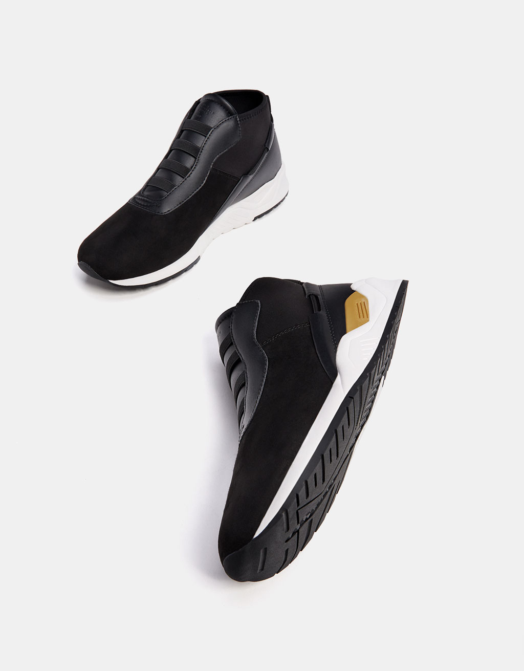 Men's technical high top sneakers with stretch detail