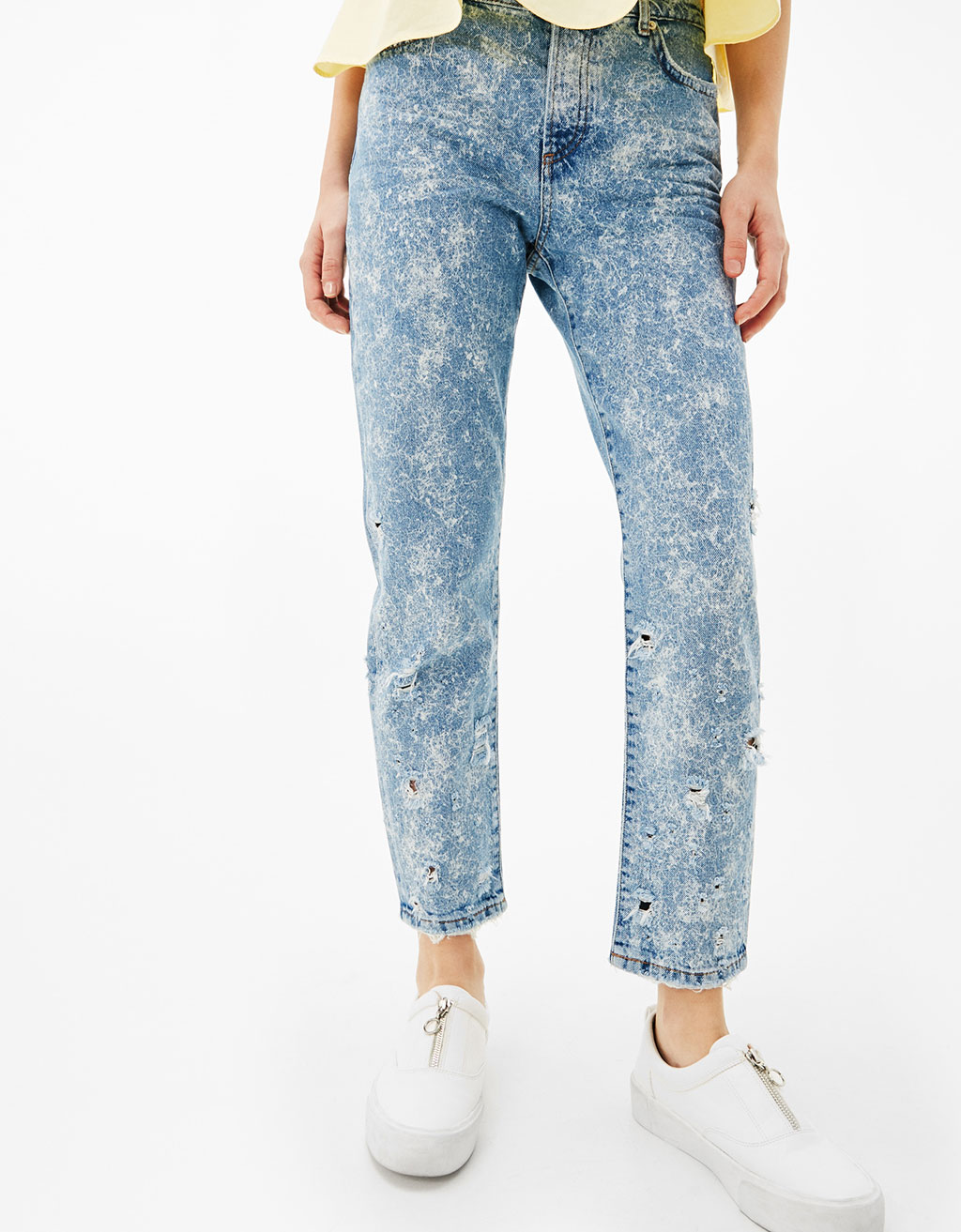 Relaxed Fit acid jeans with holes