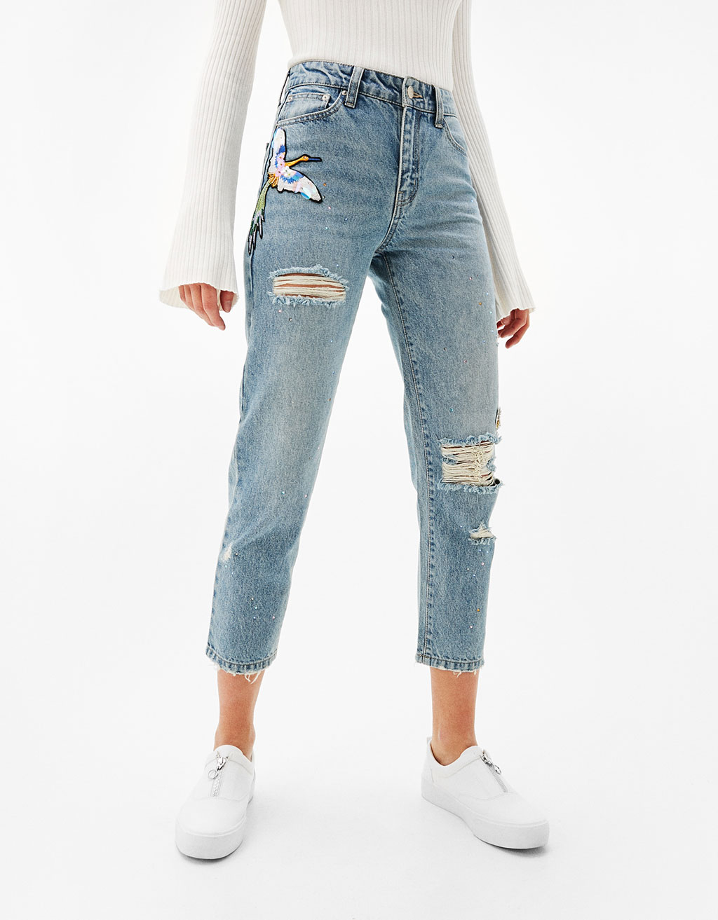 Cigarette fit jeans with shiny and diamanté appliqués