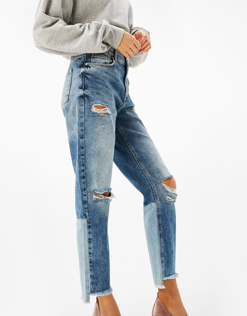 Fitted girlfriend jeans with contrasting cuffs