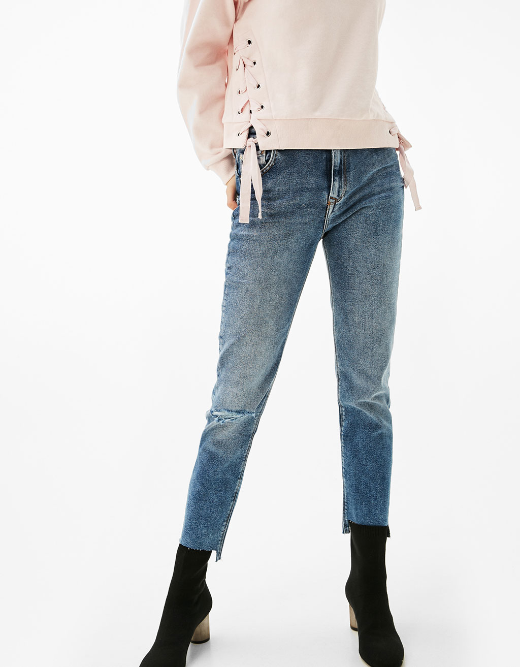 High Waist Jeans with asymmetric cuffs