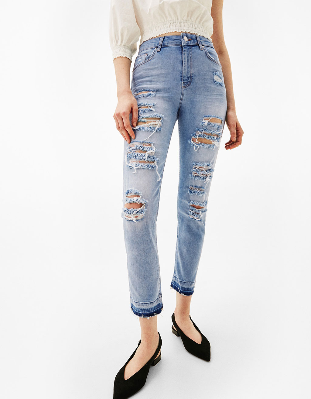 Jeans cigarette cropped rotos