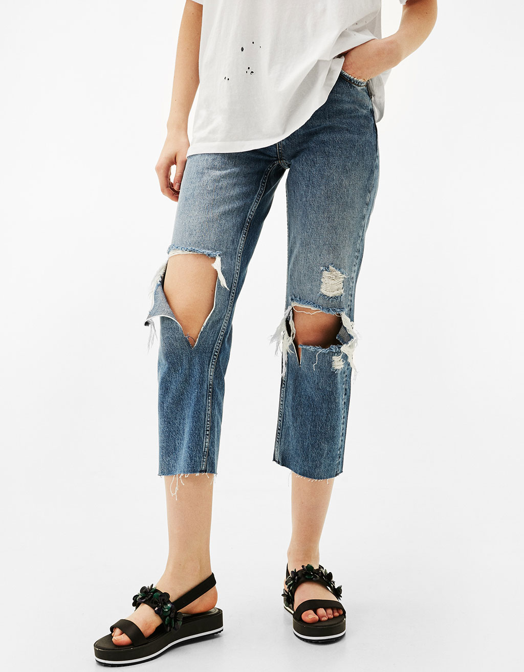 Straight Fit jeans with rips