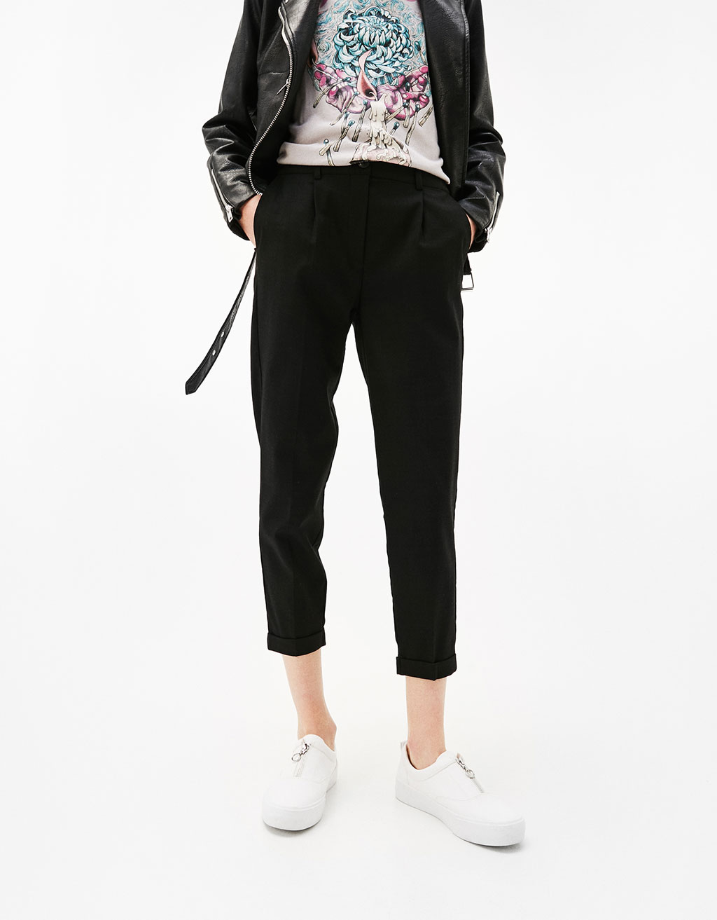 Tailored joggers with pleats