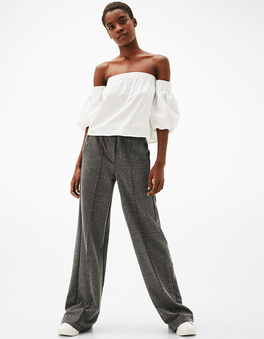 Palazzo trousers with belt and buckle