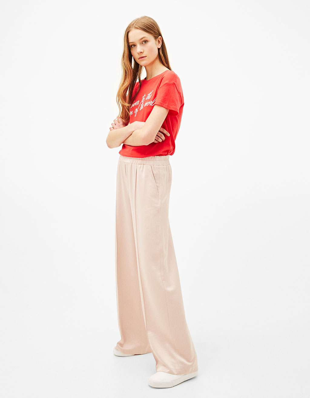 Wide sateen trousers