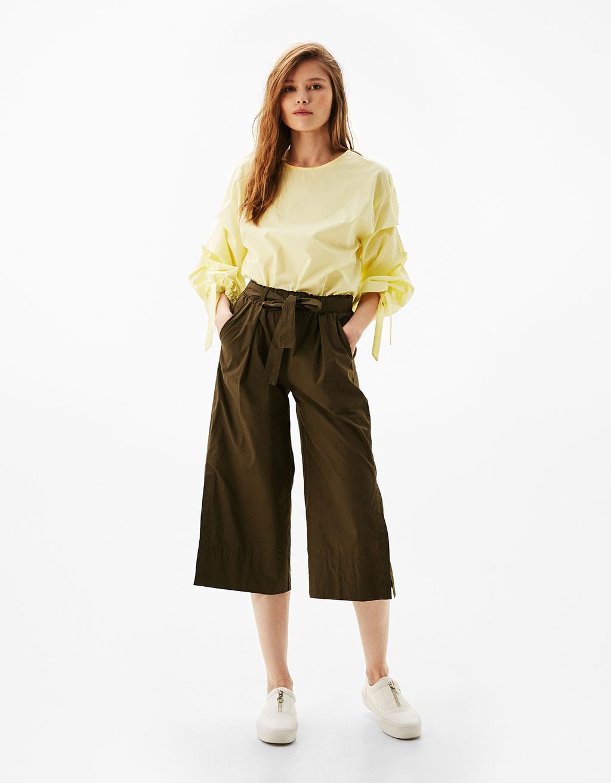 Pantalón culotte popelín