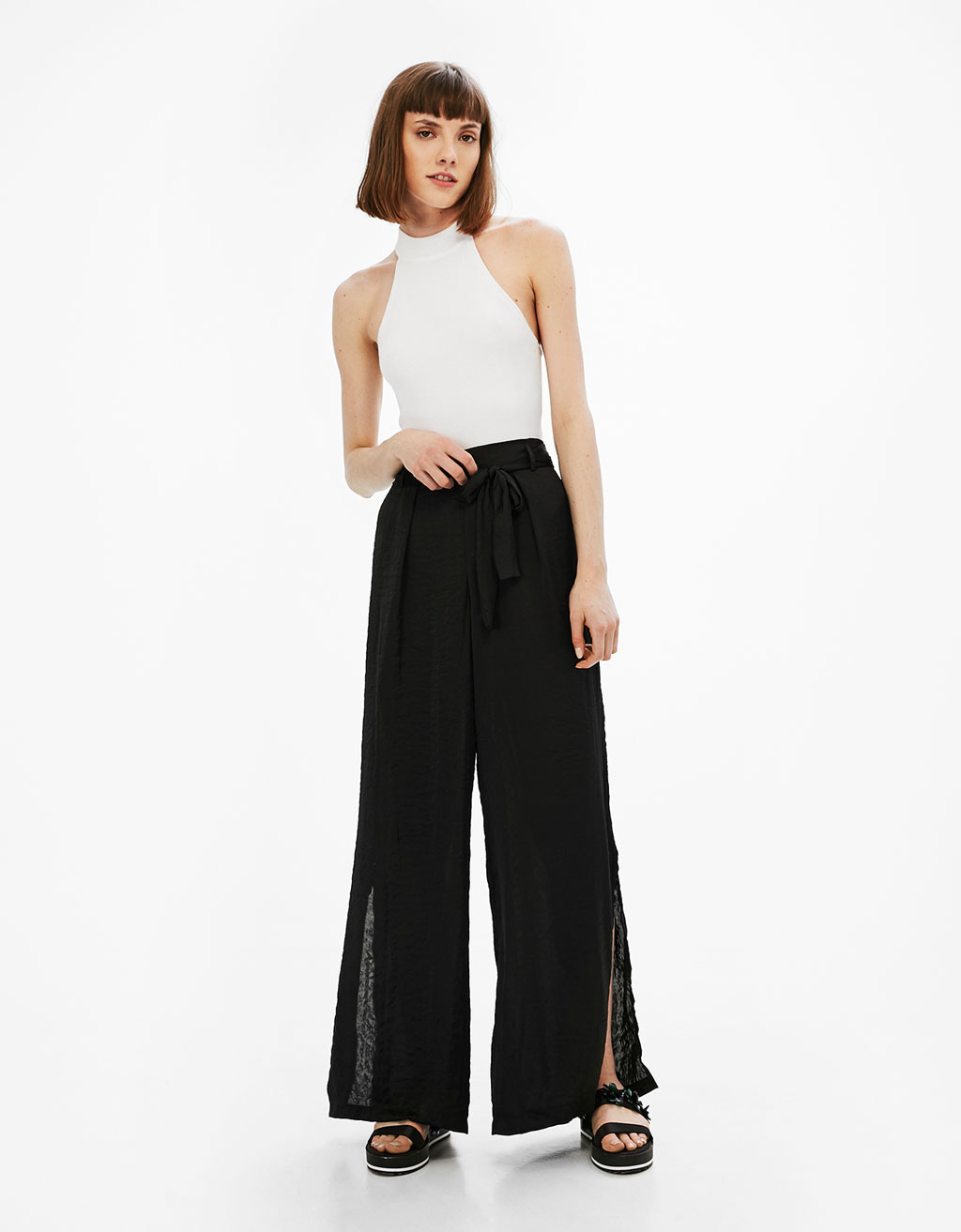 Palazzo sateen trousers with belt