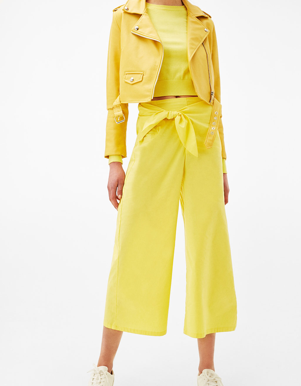 Poplin culottes with bow