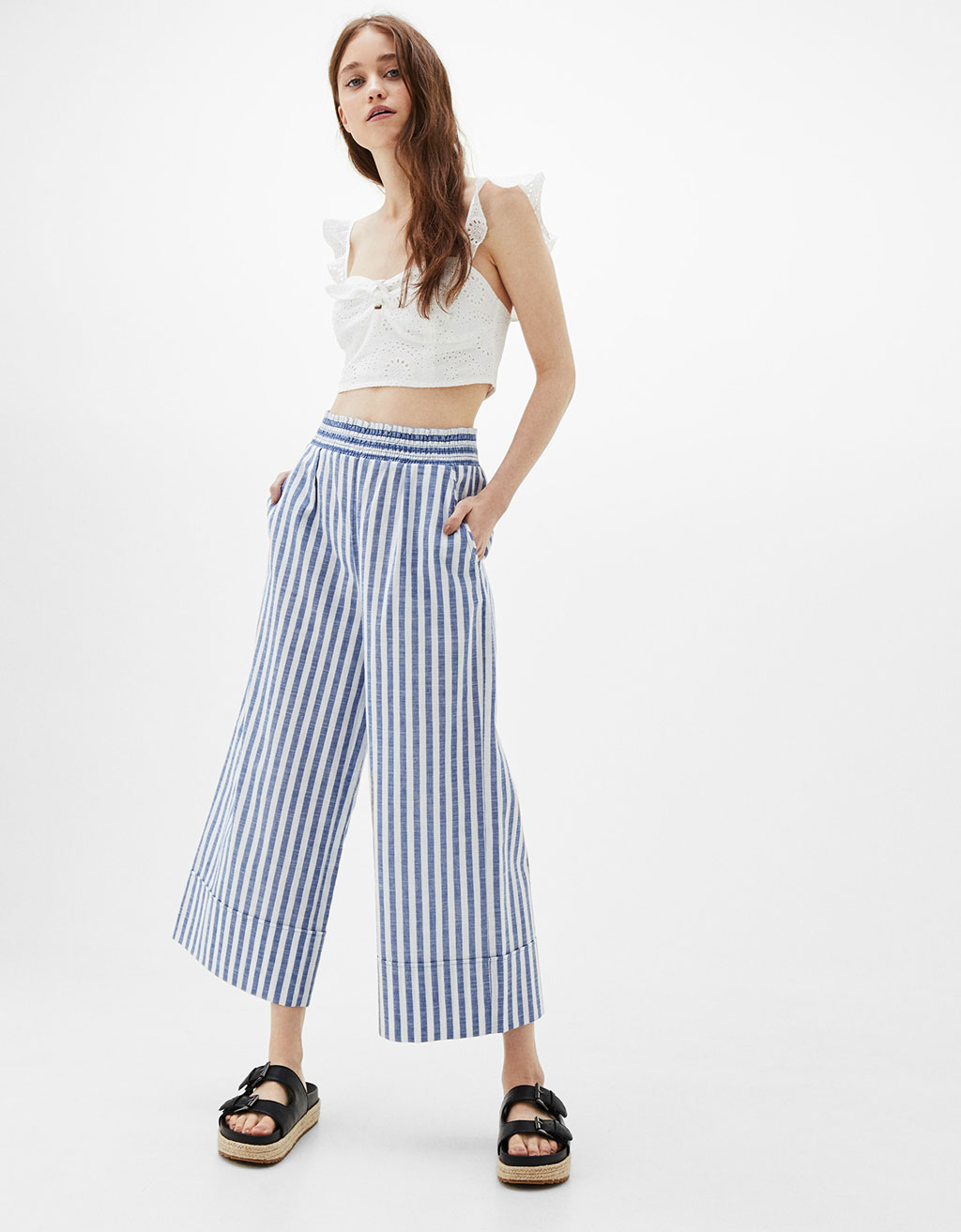 Striped culottes with stretch waist