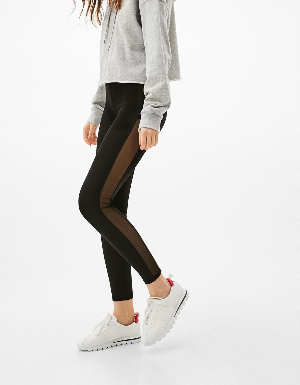 Leggings with sheer trim