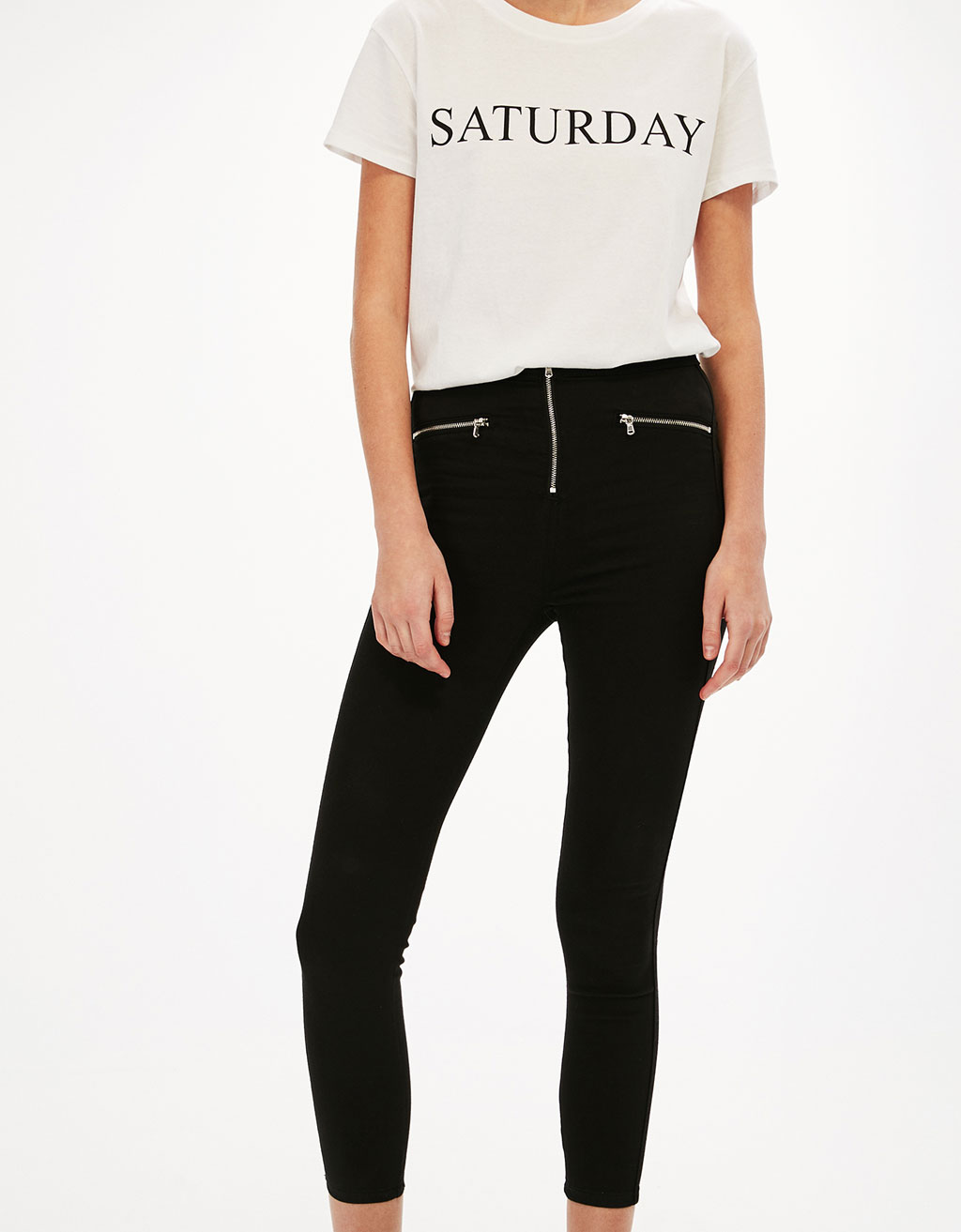 High waist trousers with zips detail