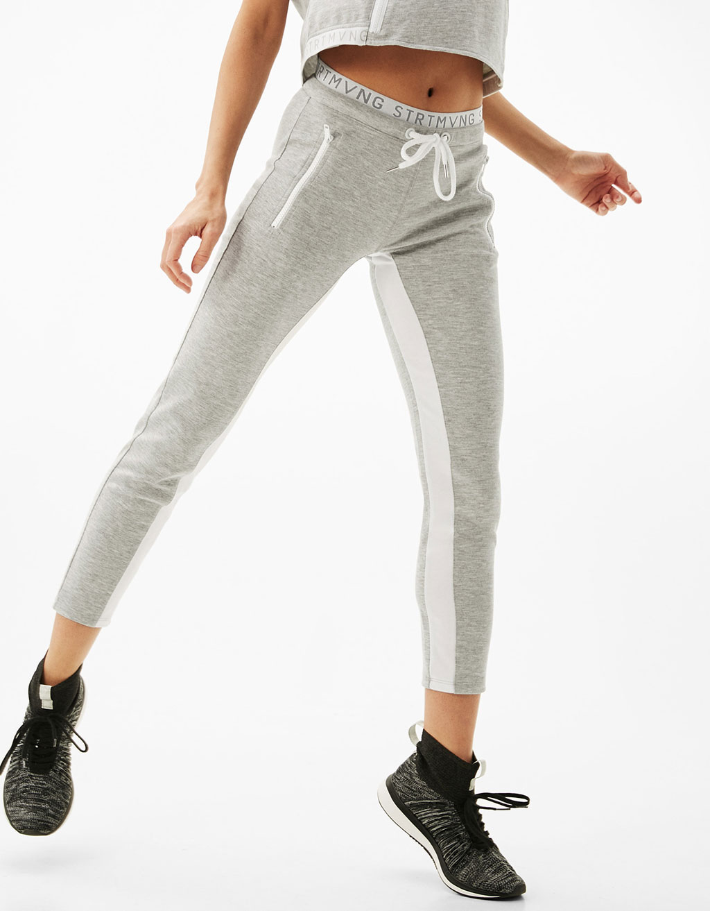 Plush sports trousers with stretch waist