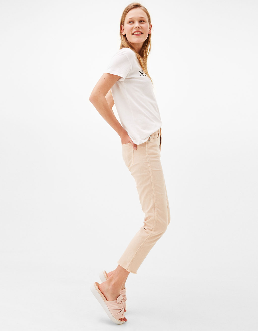 Straight fit trousers with frayed hem