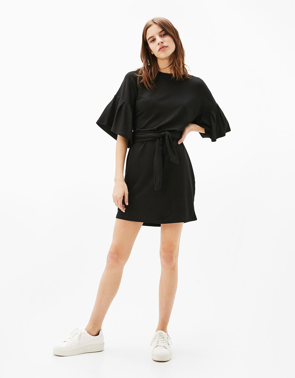 Viscose dress with puffy sleeves and belt