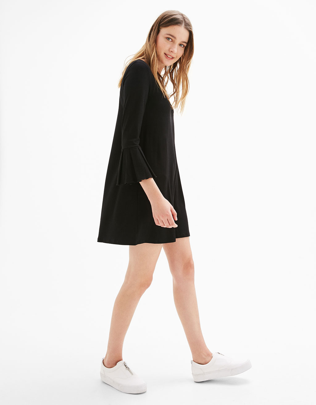 Baby doll dress with flared sleeves