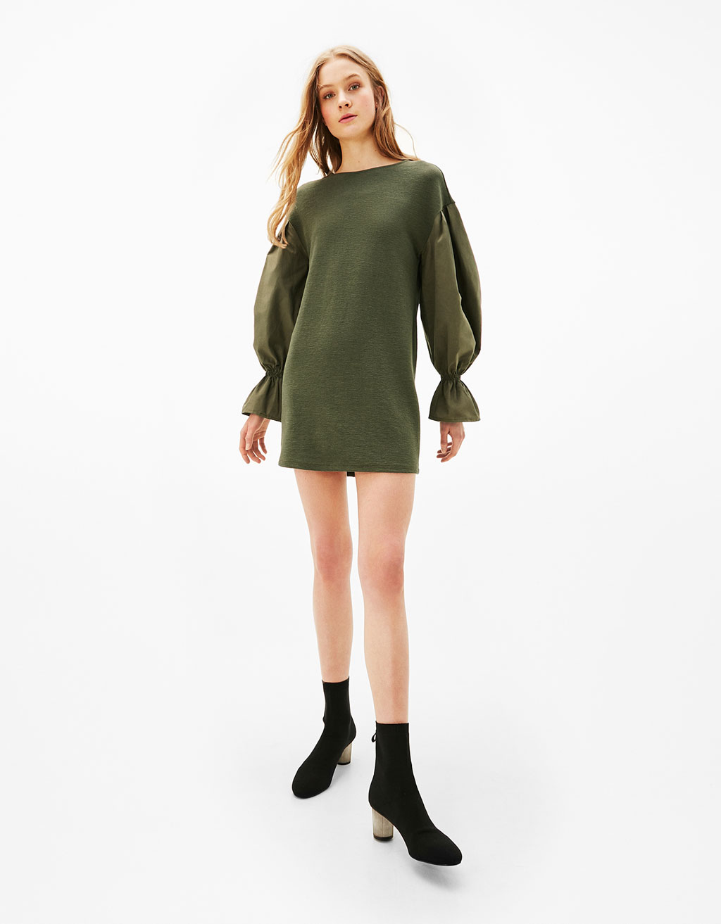 Poplin puff sleeve dress