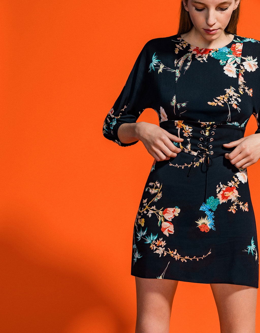 Corset effect dress with floral print