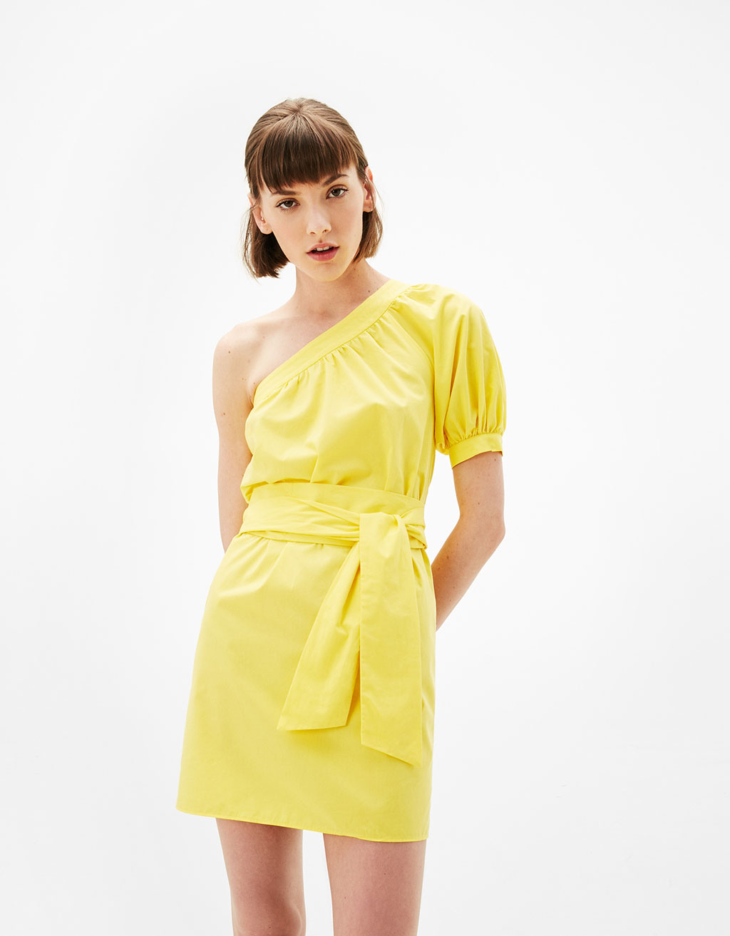 Asymmetric poplin dress with puffy sleeves