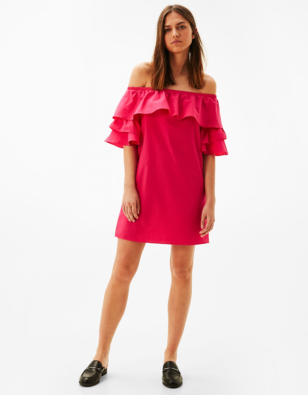 Off-the-shoulder frilled poplin dress