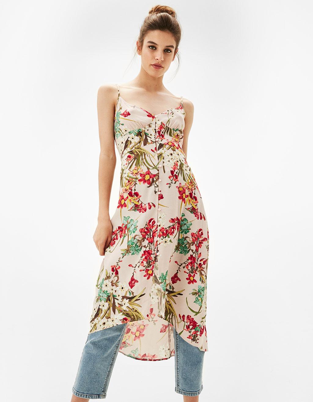 Virágmintás gombos pántos ruha