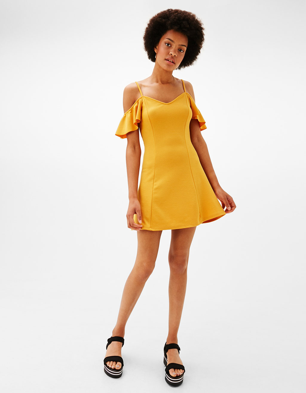 Short A-line dress with cap sleeves