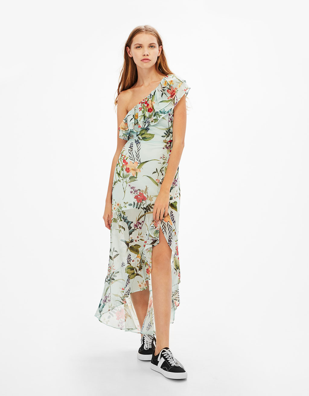 Long asymmetric floral print dress with ruffles
